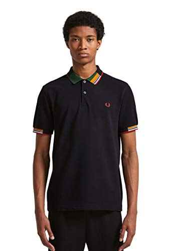 Fred Perry M5505-abstract Collar Pique Shirt-608-m Polo, Bleu (Navy 608), Medium Homm