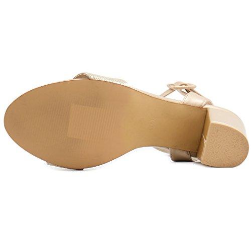 Allegra K Femme Talon Épais Sandales Sangle Cheville Gold-1