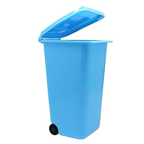 Cosanter Desktop Organizer Storage Box Schreibtisch Organisator Aufbewahrungskorb mit Bunten Rad Mini Umweltschutz Mülleimer Blau