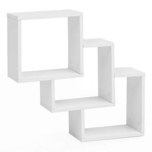 FineBuy Wandregal FB14521 Weiß 53,5x53,5x10 cm Holz Hängeregal Modern | Design Wandboard Freischwebend | Holzregal Regal für die Wand | Bücherregal Schmal | Dekoregal Schweberegal Würfel