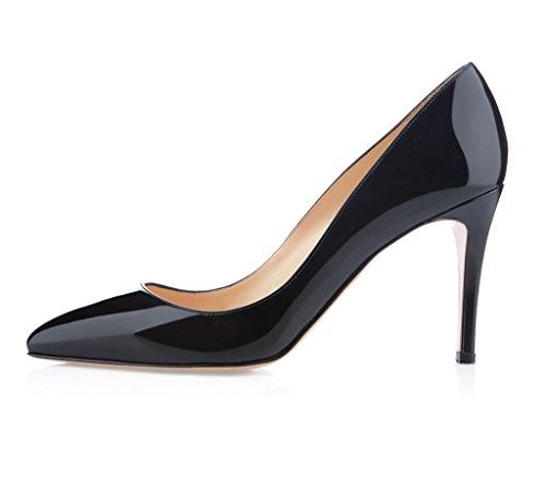 EDEFS Femmes Aiguille Escarpins Talon Haut Classique Chaussures Bout Fermé Noir