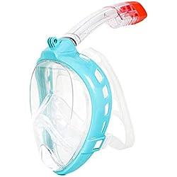QAS Masque De Plongée HD, Masque De Nage Adulte Imperméable Et Anti-Buée,Bleu,M