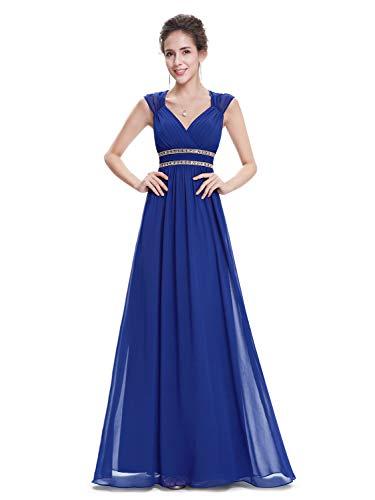 Ever-pretty vestito da sera maxi donna sottile di pizzo senza schienale vestiti da cerimonia 42 zafiro azul