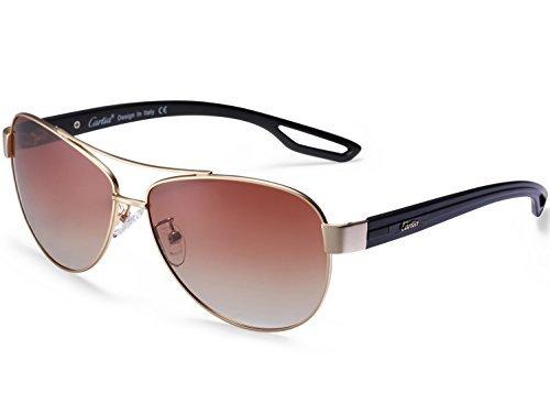 Carfia mujeres hombre gafas de sol aviador polarizado de conducción con el caso - uv 400 protección (b)