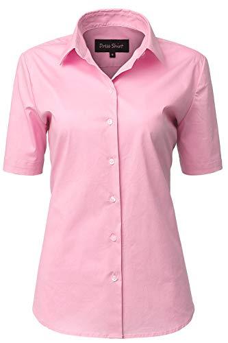 INFLATION Damen Kurzarmbluse für Freizeit und Büro Baumwolle Hemdbluse, Figurbetonte Bluse Businessbluse Arbeithemden Unifarben Rosa 45/20 - Rosa Bluse Shirt