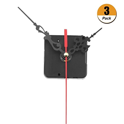 Uoeo Quarz-Uhrwerk, Schaftlänge 12 mm, Stundenzeiger 6,5 cm, Minutenzeiger 9 cm, Sekundenzeiger 12 cm, für kleine Wecker, Uhr, Kreuzstich, Quarzuhr – 3 Stück