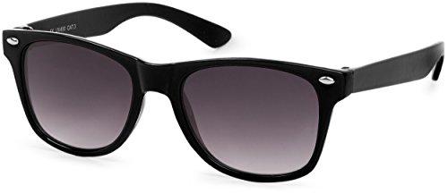 styleBREAKER Kinder Sonnenbrille, klassiches Retro, Nerd Design 09020056, Farbe:Gestell Schwarz/Glas Grau Verlauf