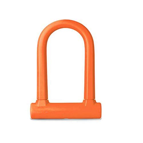 Kaiyitong01 Fahrradschloss, geeignet für Elektrofahrzeuge, Motorräder, Robustes und praktisches Bügelschloss, Größe: 19,5 * 12,7 cm, schwarz, blau, orange Schweres Kettenschloss (Color : Orange)