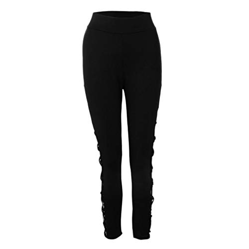 Coolster Sexy Damen Casual Hohe Taille Spitze Plus Size Fitness Leggings Stretch Hosen (Schwarz, 2XL)
