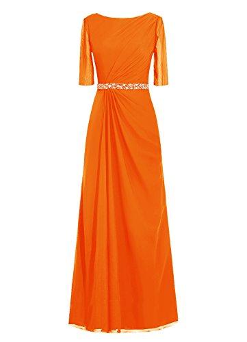Dresstells, robe de soirée, robe de mère de mariée longueur ras du sol, manches 3/4 Orange