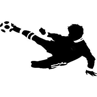 EmmiJules Wandtattoo Fussballer - mit Namen möglich - Made in Germany - in verschiedenen Größen und Farben - Kinderzimmer Junge Fußball WM EM Wandsticker Wandaufkleber (110cm x 75cm, schwarz)