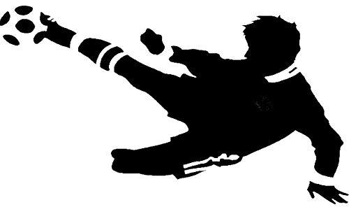 Wandtattoo Fussballer - mit Namen möglich - Made in Germany - in verschiedenen Größen und Farben -️ Kinderzimmer Junge Fußball WM EM Wohnzimmer Wandsticker Wandaufkleber (110cm x 75cm, schwarz)