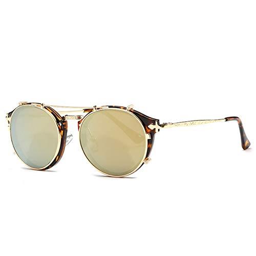 CJYTYJ Frauen Sonnenbrillen Runde Steampunk Männer Sonnenbrille Beschichtung Spiegel Retro Shades Eyewear Uv400