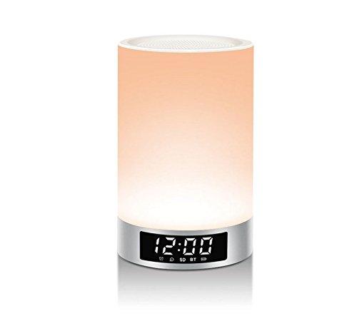 FEIYI tragbare Bluetooth Lautsprecher, Touch Control Nachtlicht, einstellbare Licht Lampe, LED Zeitanzeige, Wecker, Unterstützung TF-Karte, Freisprecheinrichtung Antwort auf das Telefon.