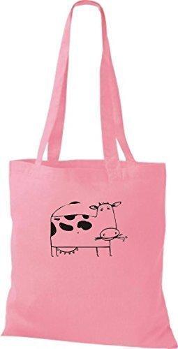 ShirtInStyle Stoffbeutel Baumwolltasche Lustige Tiere Kuh Bulle Farbe Limegrren rosa