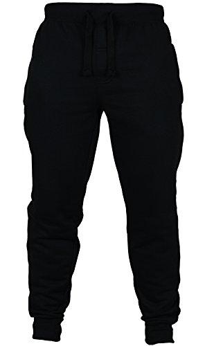 new-mens-slim-fit-tracksuit-bottoms-skinny-jogging-joggers-sweat-pants-trousers-small-32-34-waist-bl