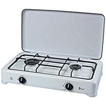 LIT 4002 - Estufa de dos quemadores, aluminio, color blanco y negro
