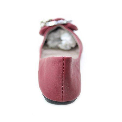 W & W femmes Mesdames Casual Chaussures Pompe plat Confort taille (Jane) Bordeaux