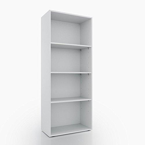 Bücherregal 4 Fächer - Weiß 155 x 60 cm - Regal Standregal Aktenregal Aktenschrank Bücher Holzregal (Regal Bücherregal Extra)