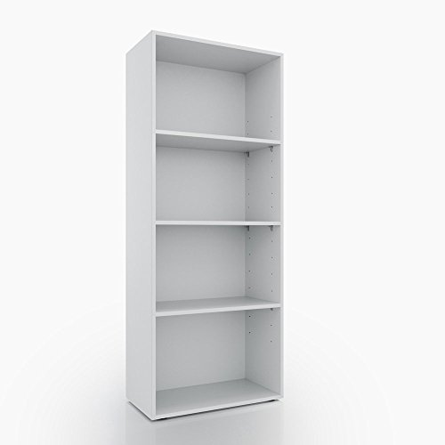 Bücherregal 4 Fächer - Weiß 155 x 60 cm - Regal Standregal Aktenregal Aktenschrank Bücher Holzregal (Bücherregal Extra Regal)
