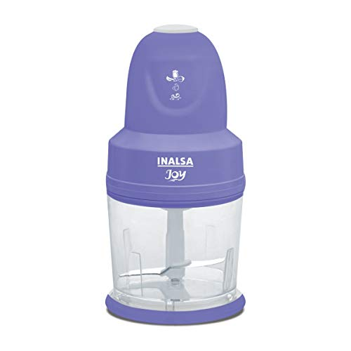 INALSA 4-in-1 Chopper Joy-250W Copper Motor, Chop, Mince,Puree,Whisk,850 ml Capacity,One Touch Operation, 1.30mtr Long Power Cord, (White/Purple)