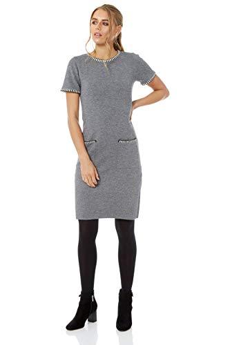 Roman Originals Femme Robe avec Poches - Automne/Hiver Longueur Genoux Casual Bureau Pull Col Rond Manches Courtes - Gris - Taille 42