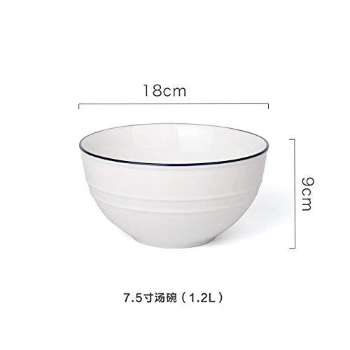 NiNnn Suppenteller Service & Geschirrsets Blue Line Einfaches Besteck Keramikgeschirr Porzellanteller Steakteller 7,5-Zoll-Schüssel -