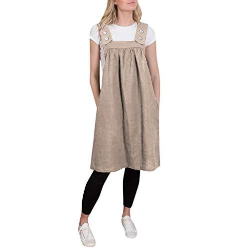 feiXIANG Damen Casual Baumwolle und Leinen Schürze lose beiläufige Feste Kleider Frauen Knielang Trägerkleid (A/Khaki,XXL)