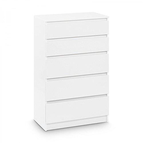 Galdem Kommode mit 5 Schubladen Sideboard Mehrzweckschrank Anrichte Diele Flur Esszimmer Wohnzimmer Weiß (5 Schubladen Sideboard)