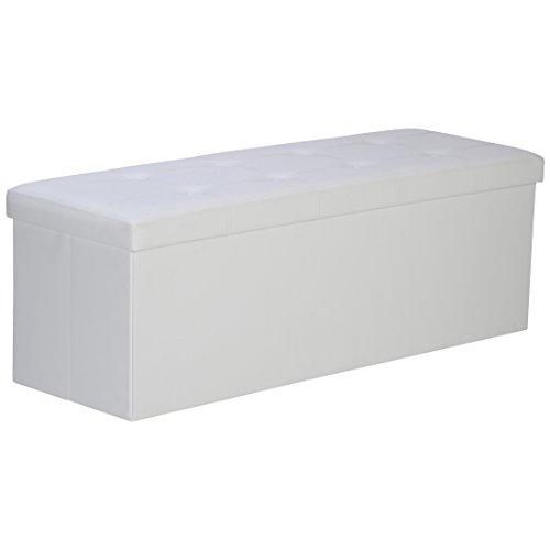 Levivo 331800000148 panca pieghevole e imbottita con box, finta pelle, bianco, 110x38x38 cm