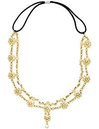 JewelRush Yellow Gold Alloy and Stones Maangtikka for Women