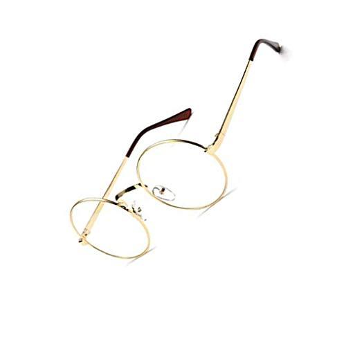 Deinbe Unisex koreanische Weinlese-Brillen-runder Metallrahmen Brille-freies Objektiv-Augen-Glas-Zubehör