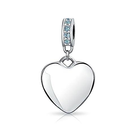 Bling Jewelry pendentif en argent Dangle coeur de perles en