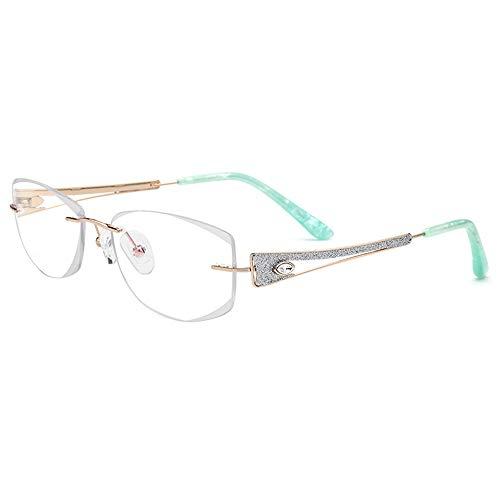 Polarisierte Sonnenbrille mit UV-Schutz Wasser-Diamant-Verschönerungs-Glasrahmen, stilvolle Geschäfts-optische Brillen für Frauen Superleichtes Rahmen-Fischen, das Golf fährt ( Farbe : Eyeglasses )