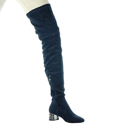 Angkorly - Chaussures Mode Bottes Hautes Bottes Femmes Flexibles Bijoux  Talon Haut Talon Bloc 4, ... 780f86a4ed7a