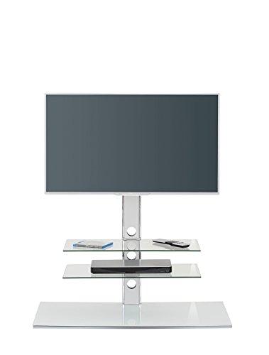 MAJA Möbel TV-Rack, Glas, Weißglas, 100,00 x 45,00 x 102,00 cm - Chrom-glas-tv-ständer