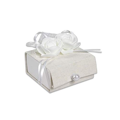 Trade shop www.tradeshopitalia.con - 12 scatoline portaconfetti scrigno in tessuto bomboniera matrimonio comunione