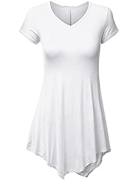 Juleya Mujer Camiseta Slim Fit Camisa Manga Corta Top Gótico Túnico Blusas Largas de Color Sólido Varios Colores...