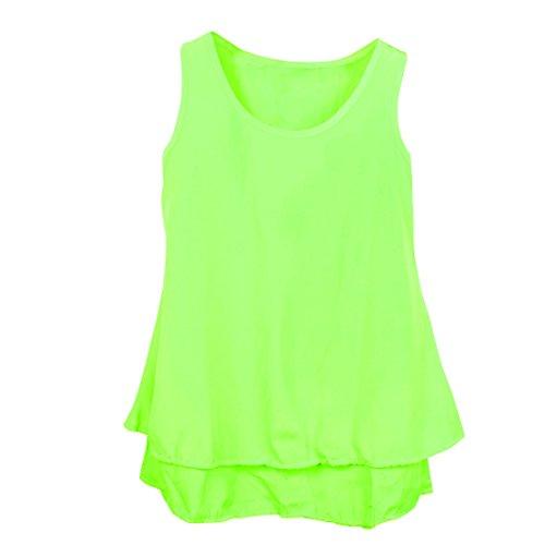 Damen-Pullover, Rundhals ohne Ärmel, einfarbig Casual Tops Grün Gelb