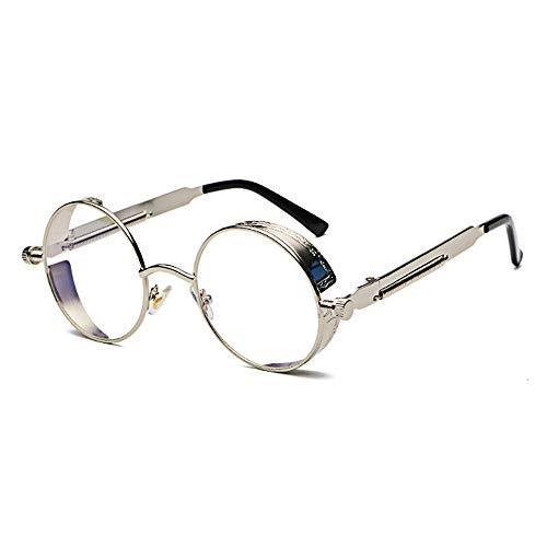 YMTP Retro Steampunk Gläser Rahmen Männer Vintage Gold Silber Schwarz Metall Runden Brillen Rahmen Für Frauen, Silber Mit Klar