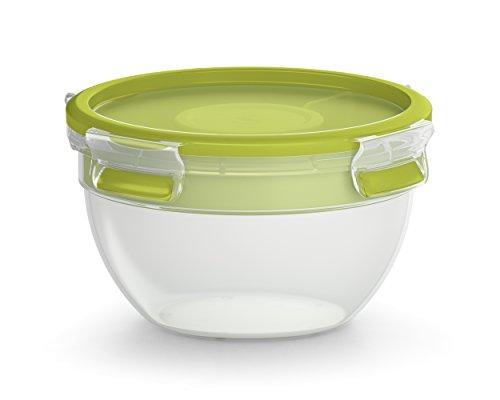 Emsa Salatbox mit 2 praktischen Einsätzen und Deckel, Saladbox, Volumen: 1 Liter, Transparent/Grün, Clip & Go, 518097