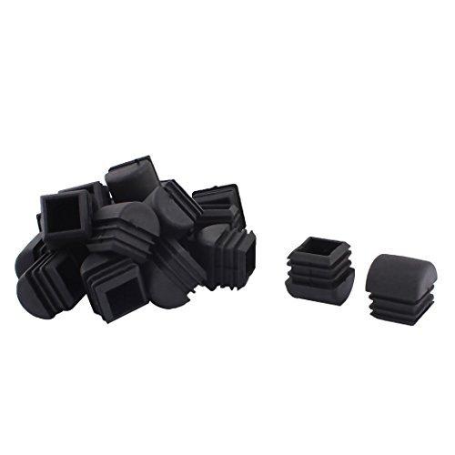 DealMux Jambes Meubles de Plastique Chaise Table Tube carré Tuyau Embouts Caps 25 mm x 25 mm 20pcs Noir