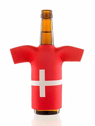 Flaschentrikot Dänemark - Flaschenkühler, Bierkühler, Getränkekühler aus Neopren - Fanartikel und Partyspaß zum Grillen, Public Viewing und Feiern