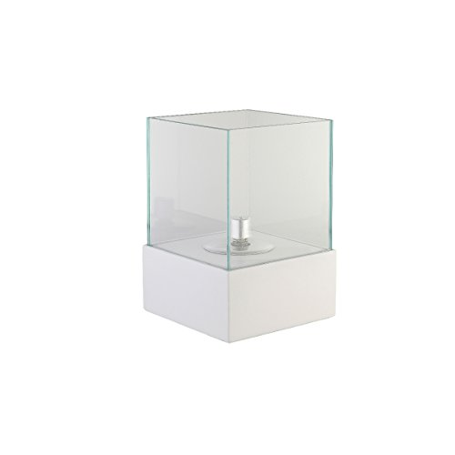 Die Für Leuchten Glasschirm (greemotion Öllampe für Draußen mit Glasschirm-Garten Öl Lampe Betonoptik-Outdoor Petroleumlampe mit Glas & Docht-Tisch Leuchte Modern, Stein, weiß, 20 x 20 x 30 cm)