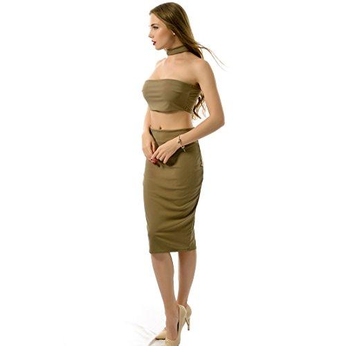 QIYUN.Z Bustier Sexy Mini-Tops Taille Haute Jupes Wrap Femmes La Fete Retour 2Pcs Tirette Kaki
