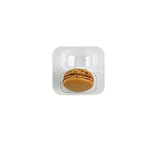 packnwood klar Kunststoff Macaron Einsatz mit Clip Verschluss (verschiedene Größen), 2 Macarons, 125