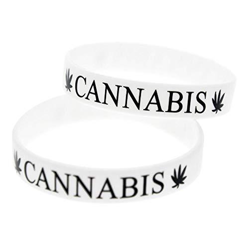 North King Silikon-Armbänder mit Sprüche Cannabis Leaf Punk-Silikon-Armbänder für Kinder Motivation setzen der Stücke