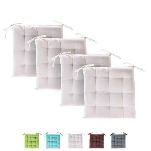 etérea Basic Sitzkissen für Innen- und Außenbereich 40x40 cm Creme 4er Set