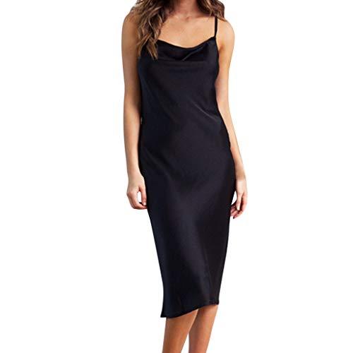 Kleid Sannysis Elegante Damen Spaghetti Träger Kleid Ärmellos Minikleider Partykleid Satin Minikleid Lose Clubwear (Glitter Schwarz Geldbörse)
