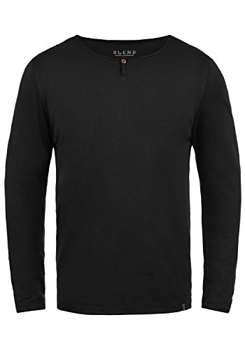 Blend Ireno Herren Longsleeve Langarmshirt mit Rundhals-Ausschnitt Aus Hochwertiger Baumwollmischung, Größe:XL, Farbe:Black (70155)